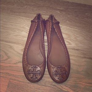 Tory Burch tan flats not stretched out
